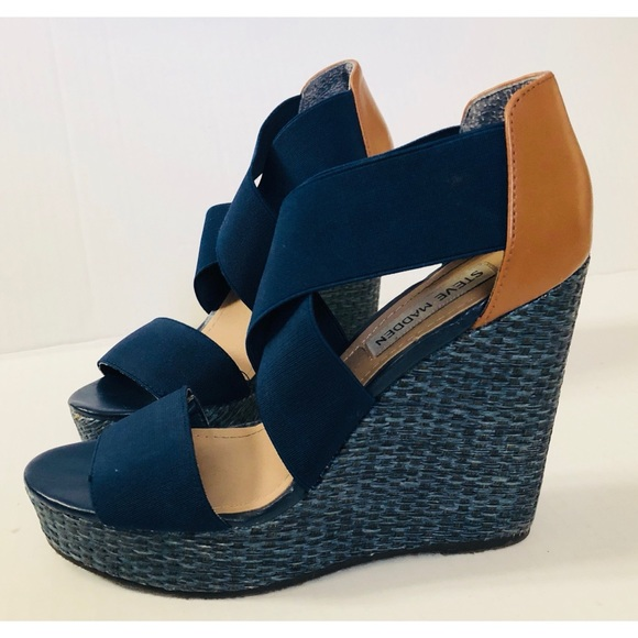c802a2aa204 Steve Madden Navy Elastic Wedge Sandals